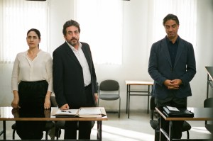 Viviane (Ronit Elkabetz), Carmel (Menashe Noy) and Elisha (Simon Abkarian) in GETT. Courtesy of Music Box Films