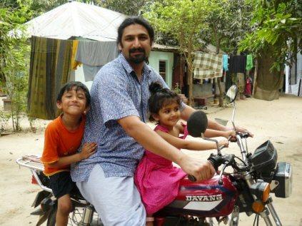 riding Baba's motorbike