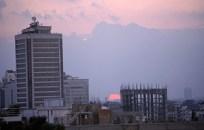 Dhaka city sunset with BRAC building
