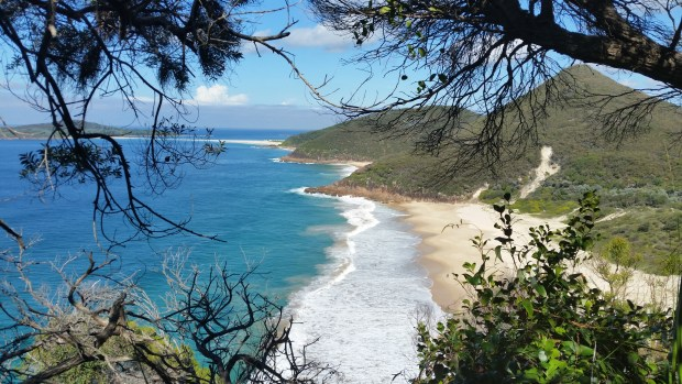 Climbing to the top of Tomaree Headland Lookout