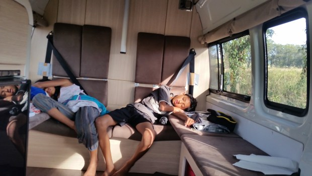 End of a long hike, being able to fall asleep in our mobile home as we leave for our next destination :-)