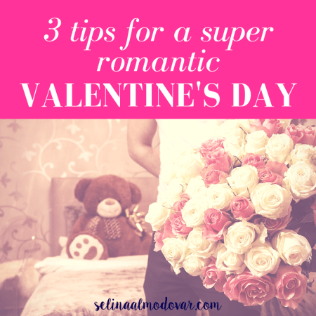 """guy wearing a white shirt holding a crazy big bouquet of roses with a teddy bear in the background with pink overlay and white text that reads, """"3 Tips For a Super Romantic Valentine's Day"""""""