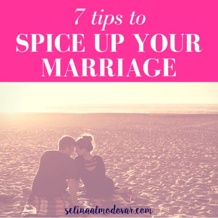 """husband and wife sit on a blanket at the beach gazing at each other as the sun sets with pink overlay and white text that reads, """"7 Tips to Spice Up Your Marriage"""""""