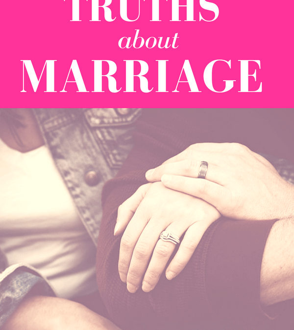 "wife and husband interlocking arms showing off wedding rings with pink overlay and white text that reads, ""Three Truths about Marriage"""