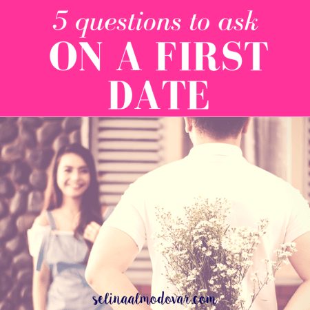 "girl smiling in the background as guy stands in front of her holding flowers behind his back with pink overlay and white text that reads, ""5 Questions to Ask On a First Date"""