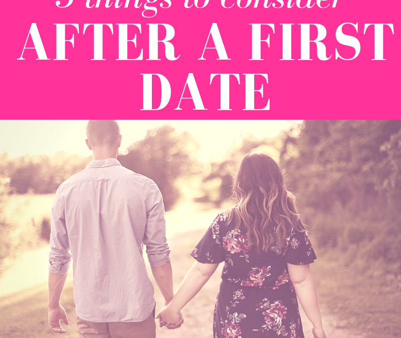 "guy and girl holding hands walking on a dirt path into horizon with pink overlay and white text that reads, ""5 Things to Do After a First Date"""