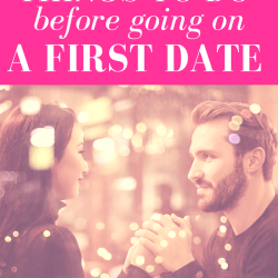 "girl looking at guy while holding hands sitting across from each other with pink overlay and white text that reads, ""Five Things to Do Before Going on a First Date"""