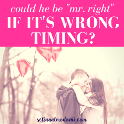 "girl and guy hold each other in a snowy wooded area while holding red, heart-shaped balloons with pink overlay and white text that reads, ""Could He Be Mr. Right If It's Wrong Timing?"""