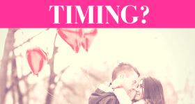 """girl and guy hold each other in a snowy wooded area while holding red, heart-shaped balloons with pink overlay and white text that reads, """"Could He Be Mr. Right If It's Wrong Timing?"""""""