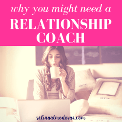 "girl sipping on coffee looking at a laptop while sitting in bed with pink overlay and white text that reads, ""Why You Might Need A Relationship Coach"""