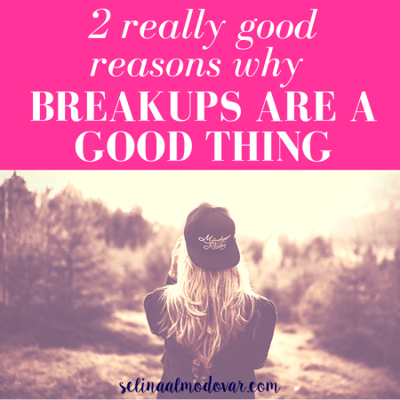 "girl with backwards cap stares out into a woodland surrounding with pink overlay and white text that reads, ""2 Really Good Reasons Why Breakups Are a Good Thing"""