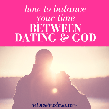 """man and woman standing side by side with woman leaning head into man as they overlook a lake and forest landscape with rays of the sun shining upon the horizon with pink overlay and white text that reads, """"How to Balance Your Time Between Dating & God"""""""
