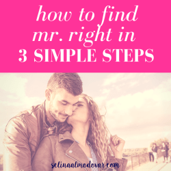 "curly haired woman looks back and kisses tall man on the cheek as he wraps his arms around her with pink overlay and white text that reads, ""How to Find Mr. Right in 3 Steps"""