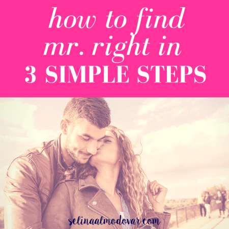 """curly haired woman looks back and kisses tall man on the cheek as he wraps his arms around her with pink overlay and white text that reads, """"How to Find Mr. Right in 3 Steps"""""""