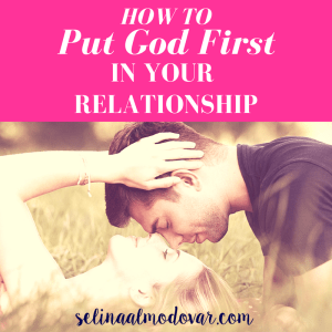 "girl laying in grass with guy hovering above her head, both eyes closed, with pink overlay and white text that reads, ""How to Put God First in Your Relationship"""
