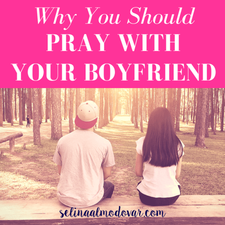 """guy sitting with girl at sunrise facing out at a woodsy surrounding with pink overlay and white text that reads, """"Why You Should Pray with Your Boyfriend"""""""