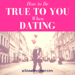 "guy and girl stand in the middle of a street holding red heart-shaped balloons and kiss with pink overlay and white text that reads, ""How to Be True to Yourself When Dating"""