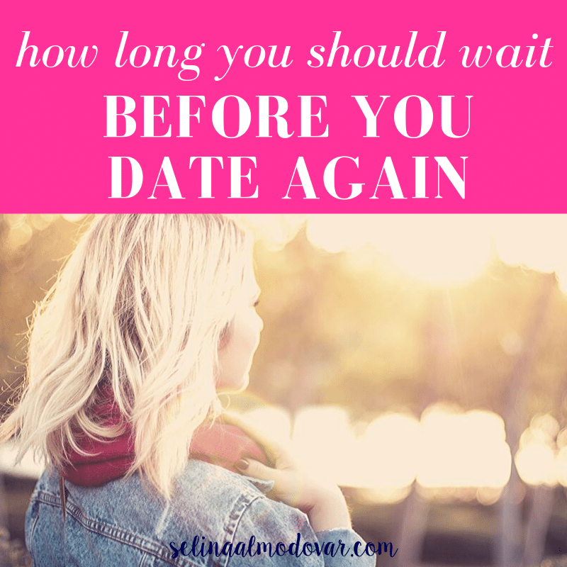"girl wearing scarf and jean jacket looking out into a woodsy view with pink overlay and white text that reads, ""How Long You Should Wait Before You Date Again"""