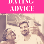 "couple looks up at smartphone while guy prepares to take a vertical selfie with pink overlay and white text that reads, ""Social Media Dating Advice"""