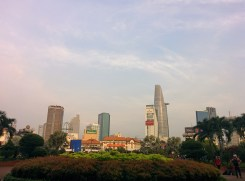 View of the skyscrapers from a park