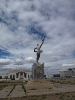One of the short stops on the way. Statue of a cosmonaut!