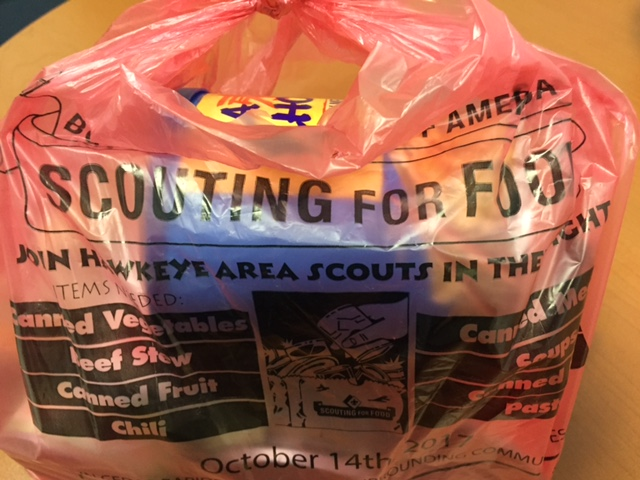 photo of Boy Scouts scouting for food donation bag