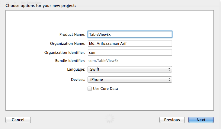 """Fill all fields and select """"Swift"""" as language"""