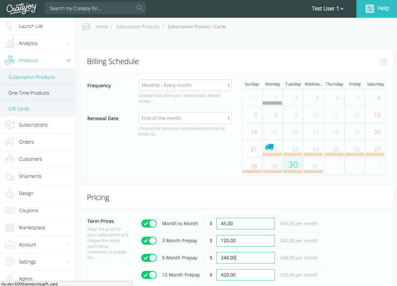 Cratejoy recurring product dashboard.