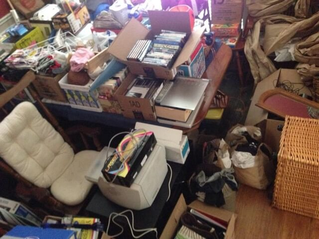 Emily's pile of stuff