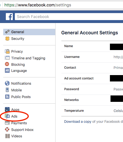 Facebook settings for controlling Ads by sellallyourstuff.com