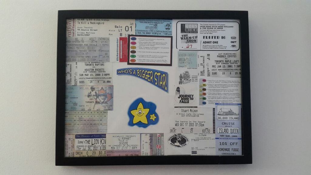 image of framed ticket stubs