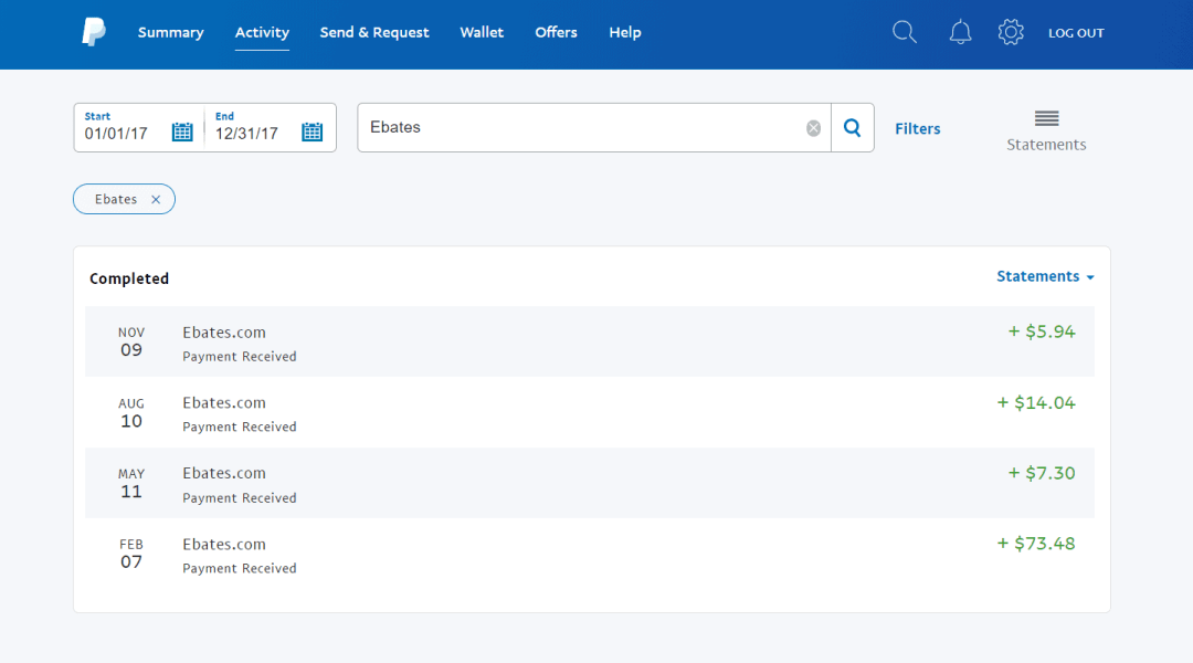 PayPal history showing over $100 in deposits