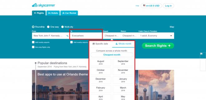 Skyscanner website flexible search