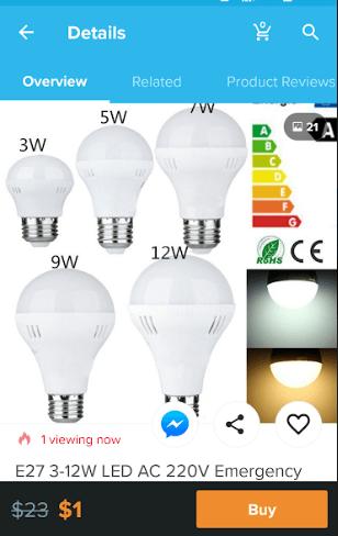 wish app led light bulb