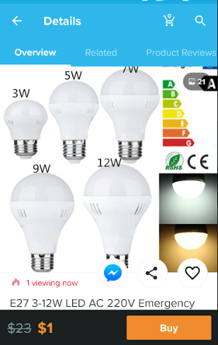 wish app led light bulb