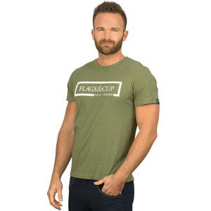 Flags and Cup Tshirt Homme Balao Vert Olive En Cadence