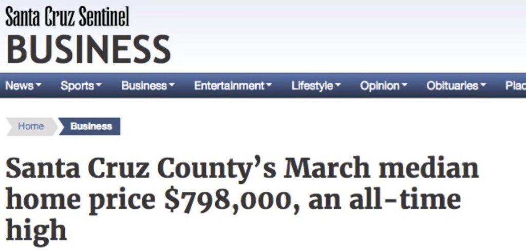 Santa Cruz Sentinel Median Price March 2016