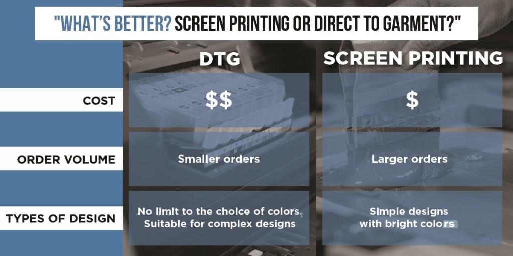dtg vs. screen printing