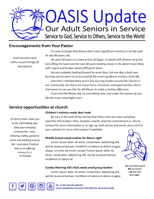 Senior Newsletter Sample