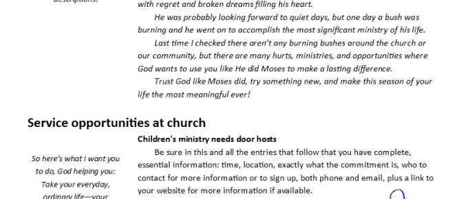SAMPLE: Senior Ministry Newsletter