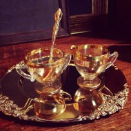 Gold Rim Cream n Sugar, gold trays