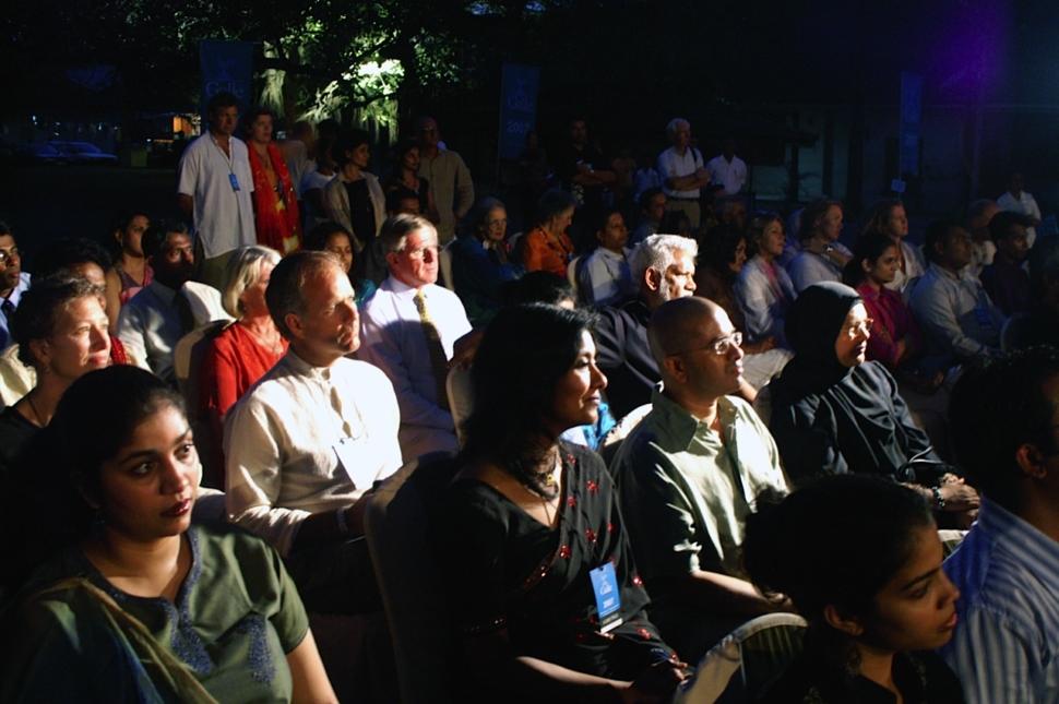 Foto van het publiek tijdens het Galle Literary Festival in Sri Lanka.