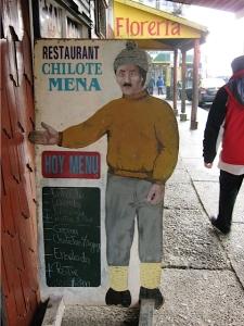 Foto van een menubord in Ancud.