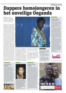 Foto van een advertorial in het dagblad Metro voor Hivos.