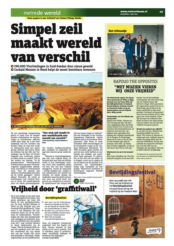 Foto van de advertorial over noodhulp.