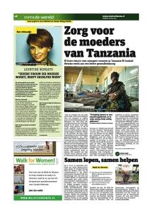 Foto van een advertorial in het dagblad Metro voor Cordaid Memisa.