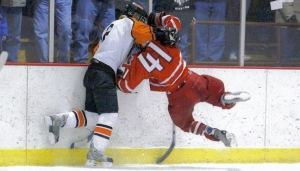 Youth hockey player hit head-first into boards