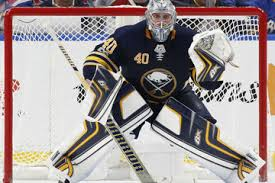 Robin Lehner with the Buffalo Sabres in a game against the Montreal Canadiens