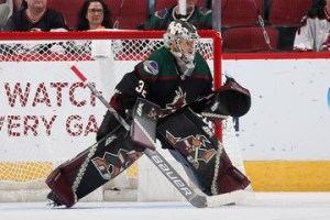 Antti Raanta in a game against the Buffalo Sabres in October