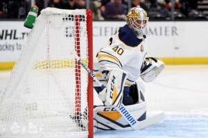 Carter Hutton in a game against the Anaheim Ducks in October